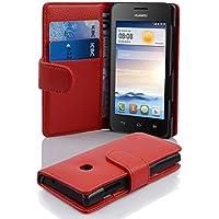 Huawei Y330 Hülle in ROT von Cadorabo - Handyhülle mit Kartenfach für Huawei Y330 Case Cover Schutzhülle Etui Tasche Book Klapp Style in INFERNO ROT