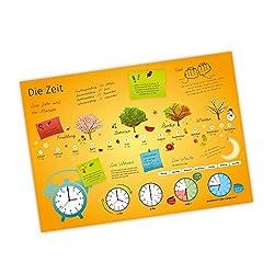 nikima - Kinder Lernposter Uhrzeit Jahreszeiten - Plakat für Kindergarten Schule Schulanfang Schuleintritt Einschulung Kinderzimmer Deko Wandbild - Größe DIN A2-594 x 420 mm