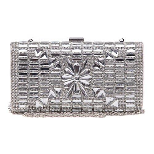 UKFS Spumante Diamante Vetro Samira Stella Pochette Da Giorno / Ragazze Signore Progettista Cerimonia Nuziale Spalla Sacchetto / Sacchetto Di Sera (Argento) Argento