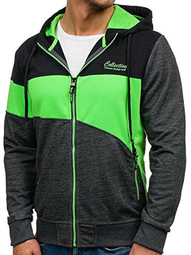 BOLF – Felpa – Cappuccio – Maniche lunghe – Sweat-shirt – Hoodie – Zip – Motivo – Uomo [1A1] Antracite-Nero