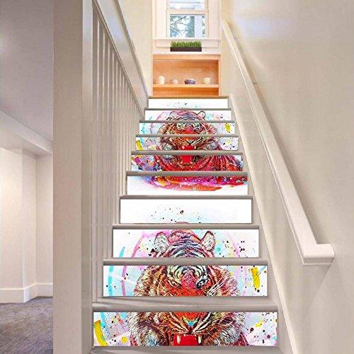 TIEZHI Kinderzimmer Dekoration Enorm Tiger DIY Wandgemälde Kreativ 3D Treppen Aufkleber Selbstklebend Tapete Abziehbilder, 1 Set 18 pcs, 100 * 18cm Tiger Wallpaper Set