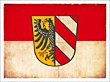 Posterlounge Acrylglasbild 160 x 120 cm: Flagge von Nürnberg im Grunge-Stil von Christian Müringer Illustration Art - Wandbild, Acryl Glasbild, Druck auf Acryl Glas Bild