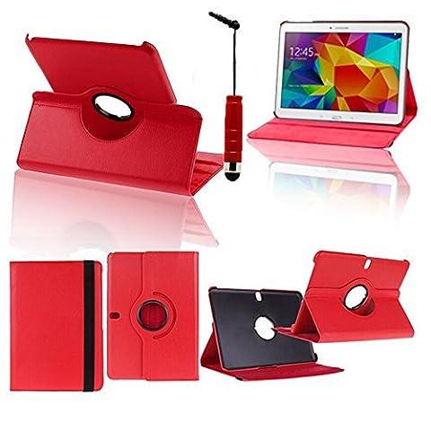 VCOMP® Etui Coque Housse avec support Et Rotation 360° en cuir PU pour Samsung Galaxy Tab Pro 10.1 SM-T520/ Tab Pro 10.1 LTE 4G SM-T525 + mini stylet - ROUGE