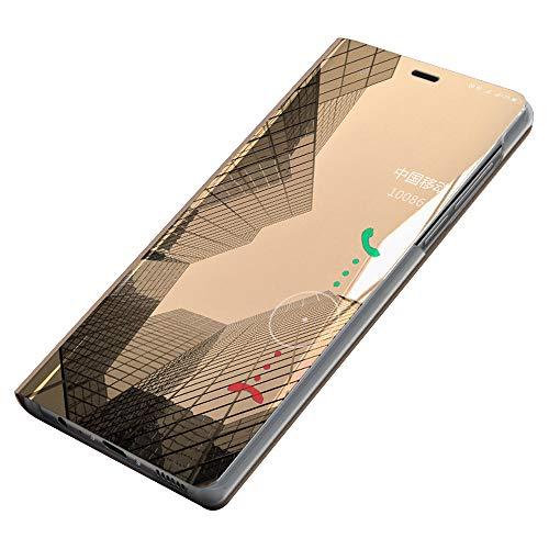 Funda Xiaomi Redmi S2, [Ventana de Vista Translúcida] Carcasa Delgada Libro de Cuero con Tapa Cartera de y Billetera Elegante Case Cover para Xiaomi Redmi S2 (Oro)