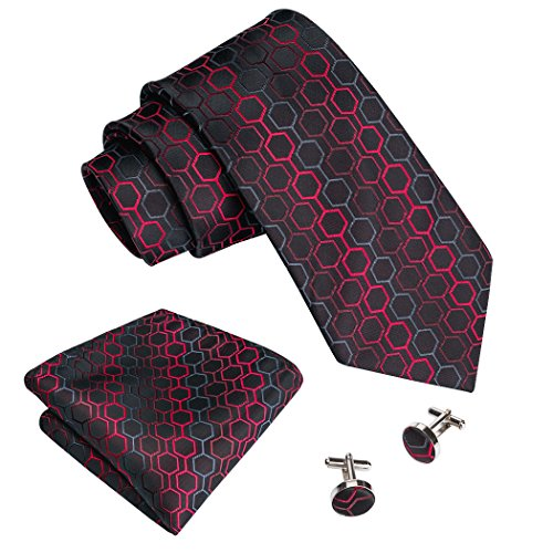 Barry.Wang Men Ties Set Silk Handkerchief Cufflinks Necktie Set Formal Black Red