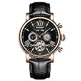 Calendario orologio da uomo in pelle battenti Tourbillon Waterpoof orologi da uomo automatico meccanico scheletro