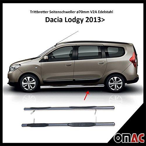 OMAC Pedane laterali schweller Ø70mm Acciaio Inox per Dacia Lodgy 2013>