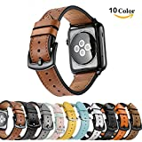 Chok Idea Leder Armband Strap für Apple Watch, 42mm Echtleder iwatch Strap Ersatz Armband mit Secure Metal Schnalle für Apple Watch Serie 3 Serie 2 Serie 1 Sport und Edition (Casual Brown)