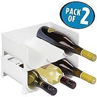 mDesign Juego de 2 botelleros apilables – Práctico organizador de nevera para 3 botellas de agua y vino – Botelleros para frigorífico o vinoteca – Plástico blanco libre de BPA