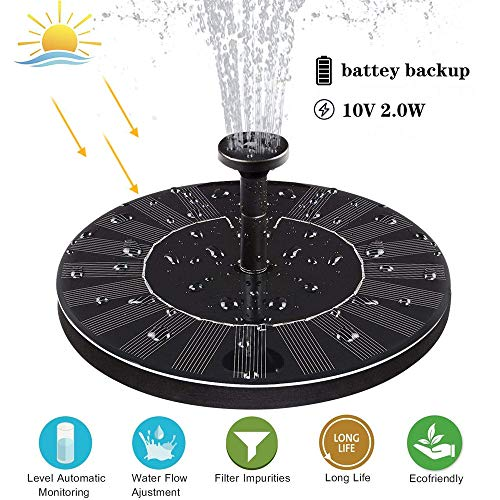 FOUNT Solar Springbrunnen 2W Eingebaute Batterie 1000 MAh Solar Teichpumpe Schwimmender Dekoration Für Garten, Kleiner Teich, Vogelbad, Fisch-Behälter, Pool