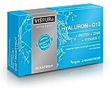Hyaluronsäure hochdosiert + Coenzym Q10 vegane Kapseln 2 Monatskur Micro-Molecular 500-700 kDa Qualitätsprodukt Made-in-Germany ohne Magnesiumstearat