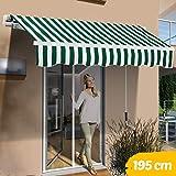 BAKAJI Tenda da Sole Balcone a Bracci Estensibili Parasole Avvolgibile Esterno Giardino a Manovella Telaio in Alluminio Dimensione 195x150 (Verde Bianco)