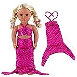 VILLAVIVI Kleid Kleidung Meerjungfrau Bikini Fischschwanz Mermaid für 46-50cm Puppe 18 inch Zoll American Girl Dolls Stehpuppe Puppenbekleidung