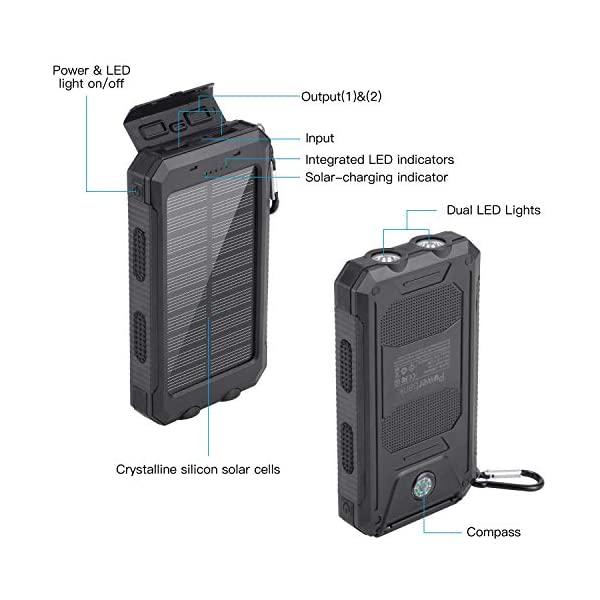 Power Bank Solar Charger 10000mAh Portable External Backup Battery Pack Dual USB Solar Phone Charger with 2LED Light for iPhone, iPad, Samsung, Android and other Smart Devices 2