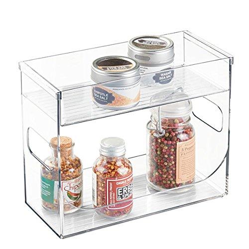 mDesign Gewürzregal für Küchenschrank und Küchentisch – praktisches Küchenregal auch für Tee - Gewürzhalter mit 2 Ebenen – transparent