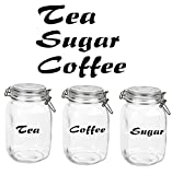 'Tea, Coffee, Sugar Glass Canister Label Stickers Decals In Black. Labels Each Measure Upto 100mm Long. Please Note Stickers Only. Jars Not Included Price Is For 2 Sets
