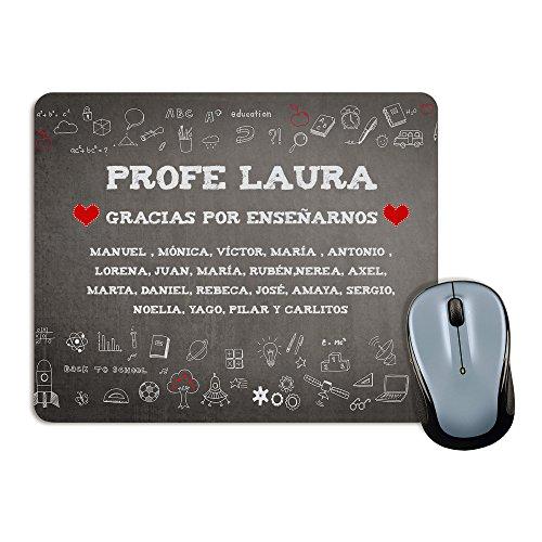 Lolapix - Alfombrilla de ratón Rectangular Personalizada Tiza. Personalizado con el Nombre del Profesor o Profesora y Alumnos, Original y Exclusivo para Maestros y Maestras. Fin de Curso.
