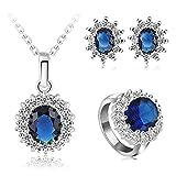 AmDxD Schmuck Set Versilbert Halskette Ohrringe Ringe Damen Schmuck-Set Blau Tropfen Träne Cubic Zirkonia 20mm