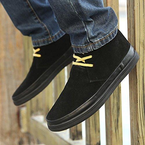 SONGYUNYAN Herren outdoor-Freizeit in England, echtem Leder handgefertigte Mode Sneaker Bootsschuh zu helfen Black