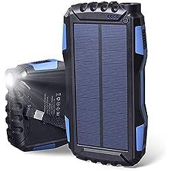 Soluser Chargeur Solaire, 25000mAh Batterie Externe Power Bank avec Deux Ports USB et des Lumières LED Super Puissantes Ldéal pour Charge Portable pour iPhone, iPad, Samsung, Nexus et Autres (Blue)