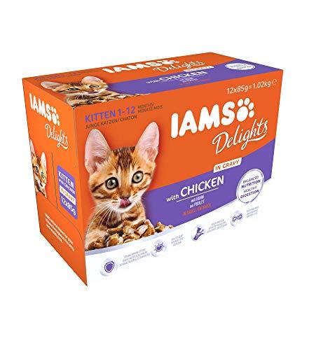 IAMS Delights, Cibo Umido per Gatti Cuccioli e Giovani, 1 - 12 Mesi, Pollo in Salsa, 1.02 kg