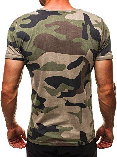 OZONEE Herren T-Shirt mit Motiv Kurzarm Rundhals Figurbetont ATHLETIC 1028 Grün