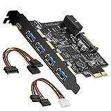 SupaGeek PCI-E auf Typ C (1), Typ A (4) USB 3.02-Port PCI Express Erweiterungskarte, der Lage Expansion + 2USB-3.0-Ports mit internen Stecker 20pin, enthält Treiber & Power Kabel