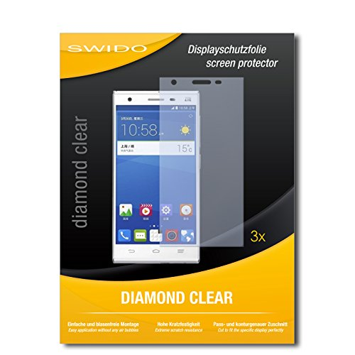 SWIDO 3 x Schutzfolie ZTE Star 2 Bildschirmschutz Folie DiamondClear unsichtbar