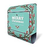 BANJADO Design Briefkasten mit Zeitungsfach, 2 Schlüssel, A4 Einwurf, silber pulverbeschichtet, mit Motiv Weihnachtskranz