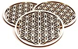 Berk EN-071-P3 Meditations-Zubehör, 3 x Blume des Lebens aus Holz 9 cm
