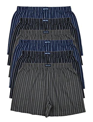 6 bedruckte & weiche 100% Baumwoll Herren Boxershorts Boxer Short in 6 oder 3 modischen Farben im 6er Set verfügbar in S M L XL 2XL 3XL 4XL & 5XL 6XL (XL-7, Ohne Eingriff SET A) (Boxer Set Short)