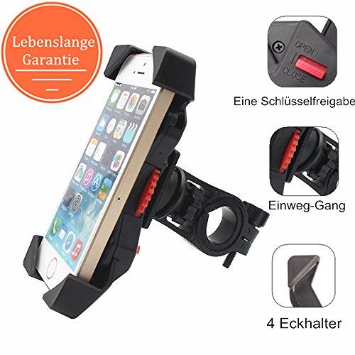 Fahrrad Handyhalterung Motorrad Handyhalter , Universal Fahrrad Halterung GPS Motorrad Handy Halterung, Outdoor Halter Fahrrad Handyhalter mit 360 Drehbare für Smartphone iPhone 7Plus 7 6Plus 6s/6 5S/5 4s Galaxy S8 Plus S8 S7 HUAWEI Honor P10 P8