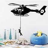 Etiqueta engomada de la pared del vinilo del helicóptero de la fuerza aérea de dibujos animados extraíble decoración de la habitación de los niños decoración de la casa calcomanía de pared 30x72cm