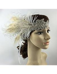 OULII Tocados novia pluma venda sombreros disfraces tocado estilo indio pelo banda accesorios disfraces fiesta vestir accesorios de la boda, regalo de Navidad (blanco)
