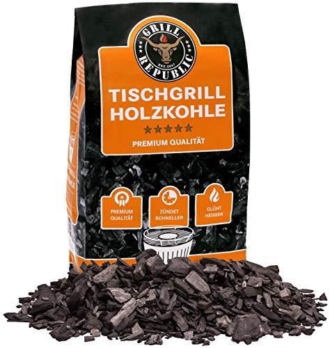 Grill Republic Tischgrill Kohle für Lotus Grill Naturprodukt - rauchfreier Grill dank Buchenholzkohle / Grillkohle für Lotusgrill aus Buchen / 2,5 kg