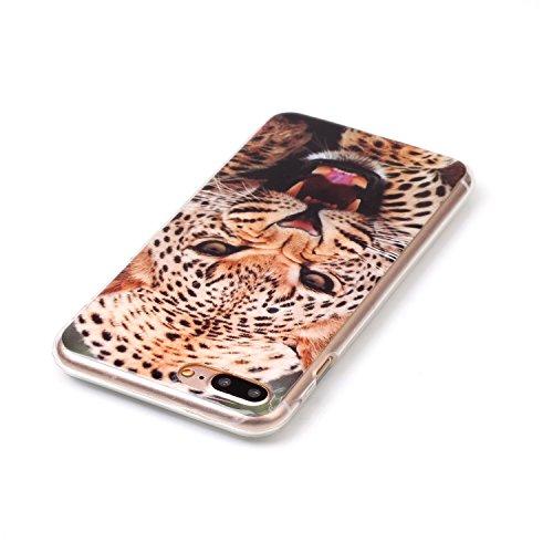 Coque Housse pour iPhone 7 Plus/8 Plus, iPhone 8 Plus Coque Silicone Etui Housse, iPhone 7 Plus Souple Coque Etui en Silicone, iPhone 7 Plus Silicone Transparent Case TPU Cover, Ukayfe Etui de Protect léopard
