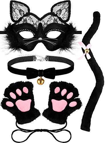 Katze Adult Halloween Kostüm - SATINIOR Maskerade Katze Mask Damen Kätzchen Kostüm für Halloween Bell Choker Katzenpfote Schwanz