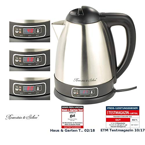 Rosenstein & Söhne Teewasserkocher: Edelstahl-Wasserkocher mit Temperatur-Wahl, 1,8 Liter, 1.830 Watt (Wasserkocher mit Temperaturwahl)