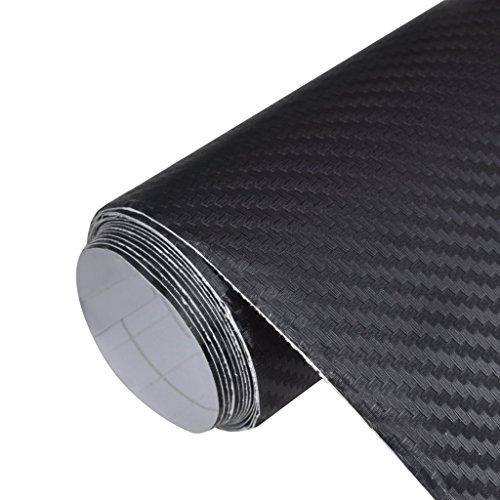 vidaXL 3D Carbon Folie Blasenfrei Selbstklebend Schwarz 152x200cm Autofolie