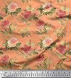 Soimoi Orange schwere Leinwand Stoff Blätter, Rose &