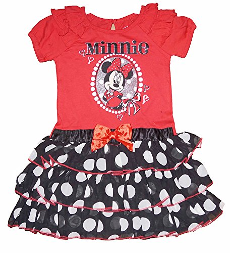 Minnie Mouse R¨¹schen?rmel mit Polka Dot Tiered Volant - Rot Schwarz (Dot Polka Tiered)