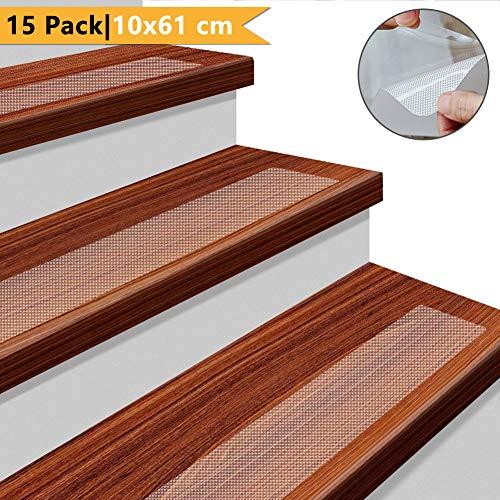 Yisun tappetino antiscivolo per scale con nastro adesivo antiscivolo trasparente da 15 pacchi, interno per esterni che impedisce lo scivolamento di peva (10 cm * 61 cm) (10x61 cm)