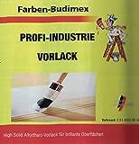 Farben-Budimex Profi-Industrie Vorlack , Farbton weiß / 2,5 l , High Solid Alkydharz-Vorlack für brillante Oberflächen / für hochwertige Vorlackierung im Innen- u. Außenbereich, lösemittelarm, aromatenfrei, für Holz u. Metall, schnelltrocknend