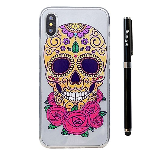 inShang iPhone X 5.8inch custodia cover del cellulare, Anti Slip, ultra sottile e leggero, custodia morbido realizzata in materiale del TPU, frosted shell , conveniente cell phone case per iPhone X 5. colorful skull