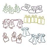 B Baosity 18 Piezas Pinzas de Papel Metal Clips de Papel de Navidad de Etiquetas, Separadores y Sellos