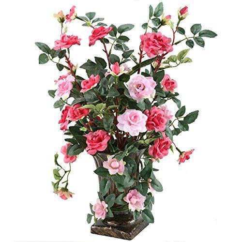 gtidea europäischen Royal Style Design Künstlich wasserstrauch Blumen Rose, realistische Seide Arrangements für Haus Büro Restaurant-Tisch Aufsteller Fensterbank Decor Royal Roses