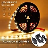 AMBOTHER 5M LED Streifen Dimmbar LED Strip Kit LED Lichtband LED Bänder Lichterkette 3000K Warmweiß Stimmungslicht für Weihnachten Deko Kinderzimmer Selbstklebend, Schneidbar (300 LEDs, mit Netzteil)