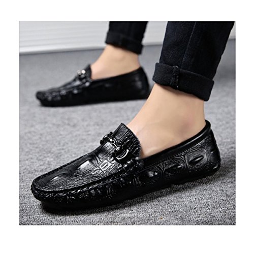 LYZGF Hommes Automne Et Hiver Mode Pédale Sauvage Paresseux Conduite En Cuir Léger Chaussures Black
