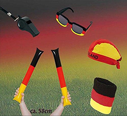 KarnevalsTeufel Fan Set, 5-TLG. Deutschland, EM, WM, Fußballparty, Germany, Fanartikel -
