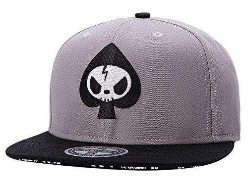 Aivtalk Stickerei Baseballcap Mütze Hip Hop Cap Kappe Jungen Mädchen Snapback Original Flache Baseballmütze - Grau